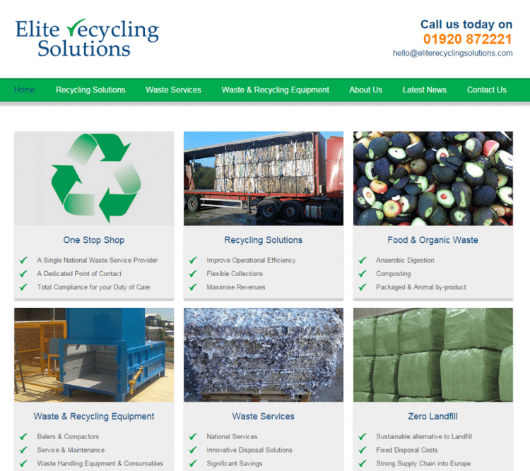 Elite Recycling website