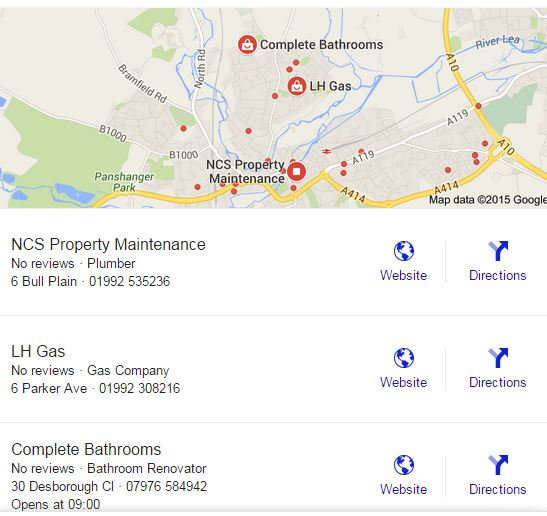 A map image of plumbers as an important feature of Google's SERP