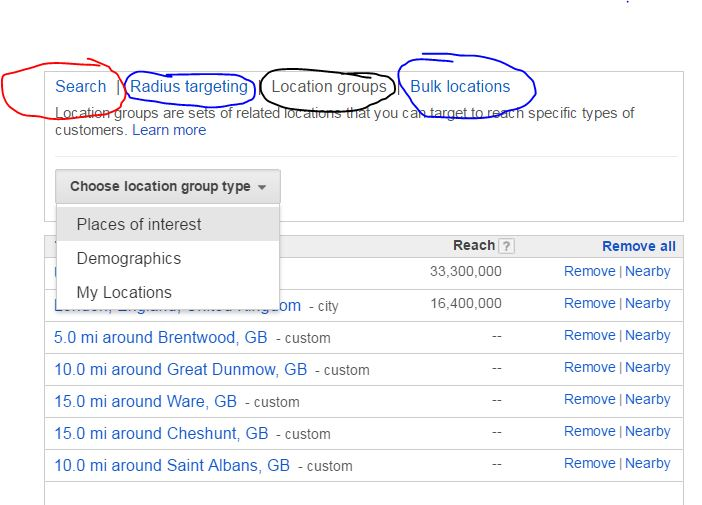 AdWords Location setting and quality score