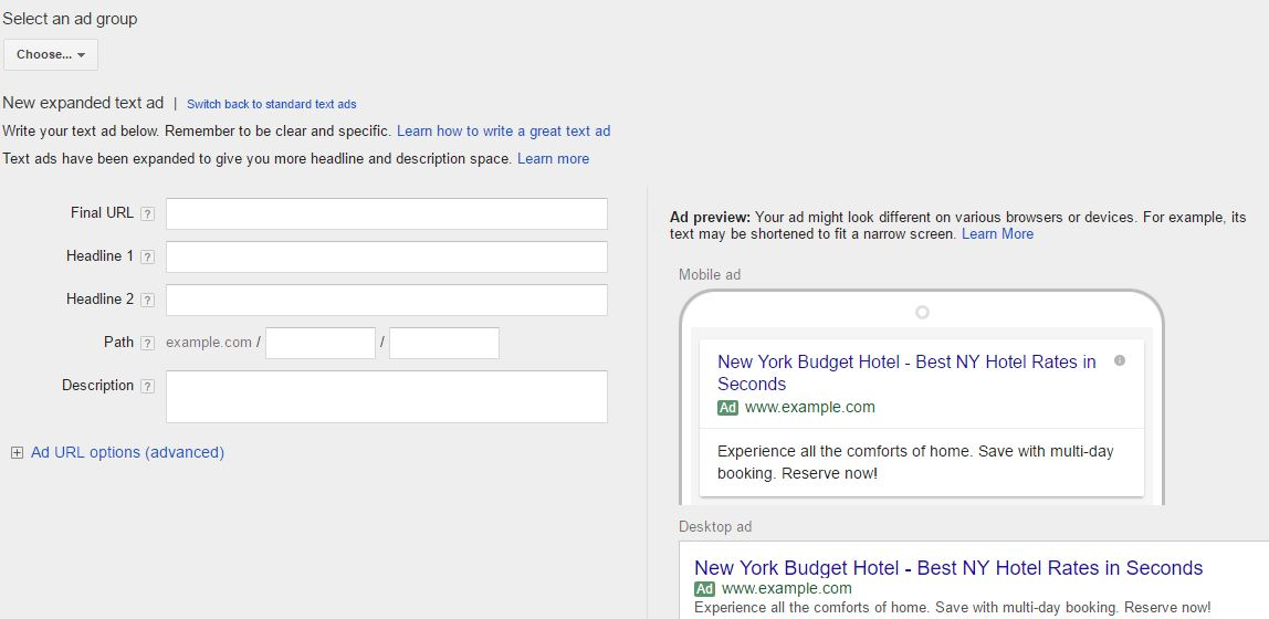 AdWords Expanded Text Ad