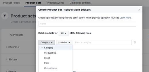 Creating Facebook product sets