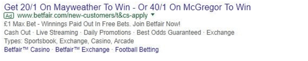 Advert from Betfair showing their odds on McGregor and Mayweather