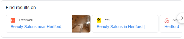 find results on google snippet - beauticians