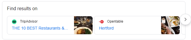 find results on google snippet - restaurants