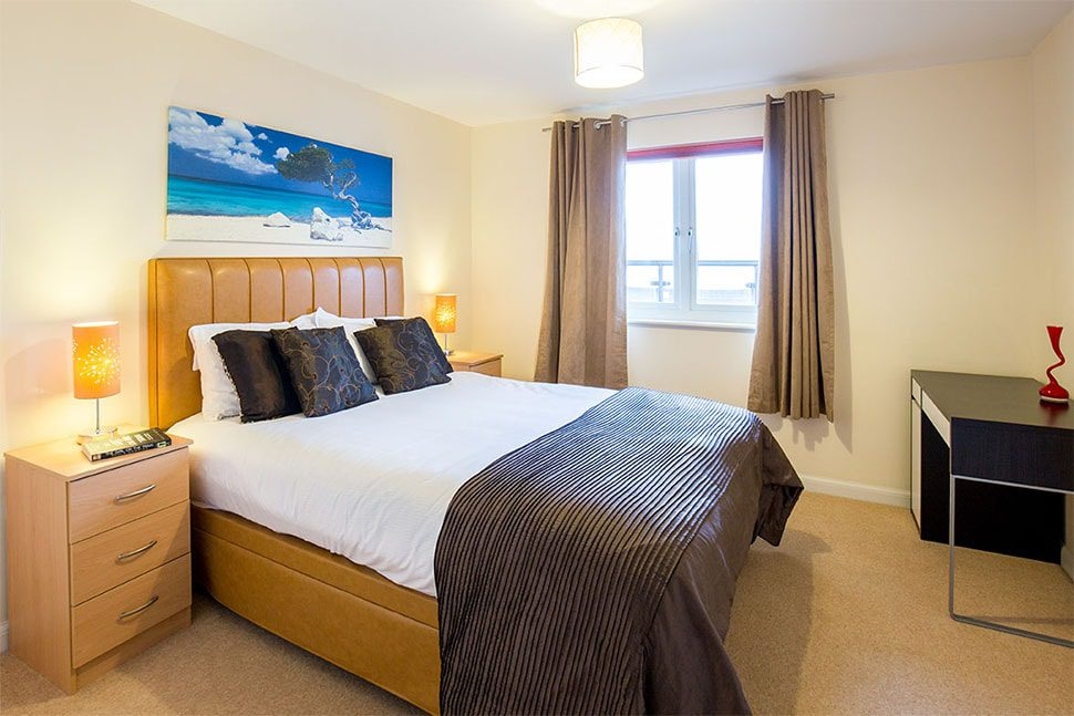 Service apartment bedroom in Hemel