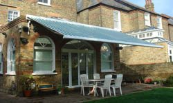 green and white patio awnings