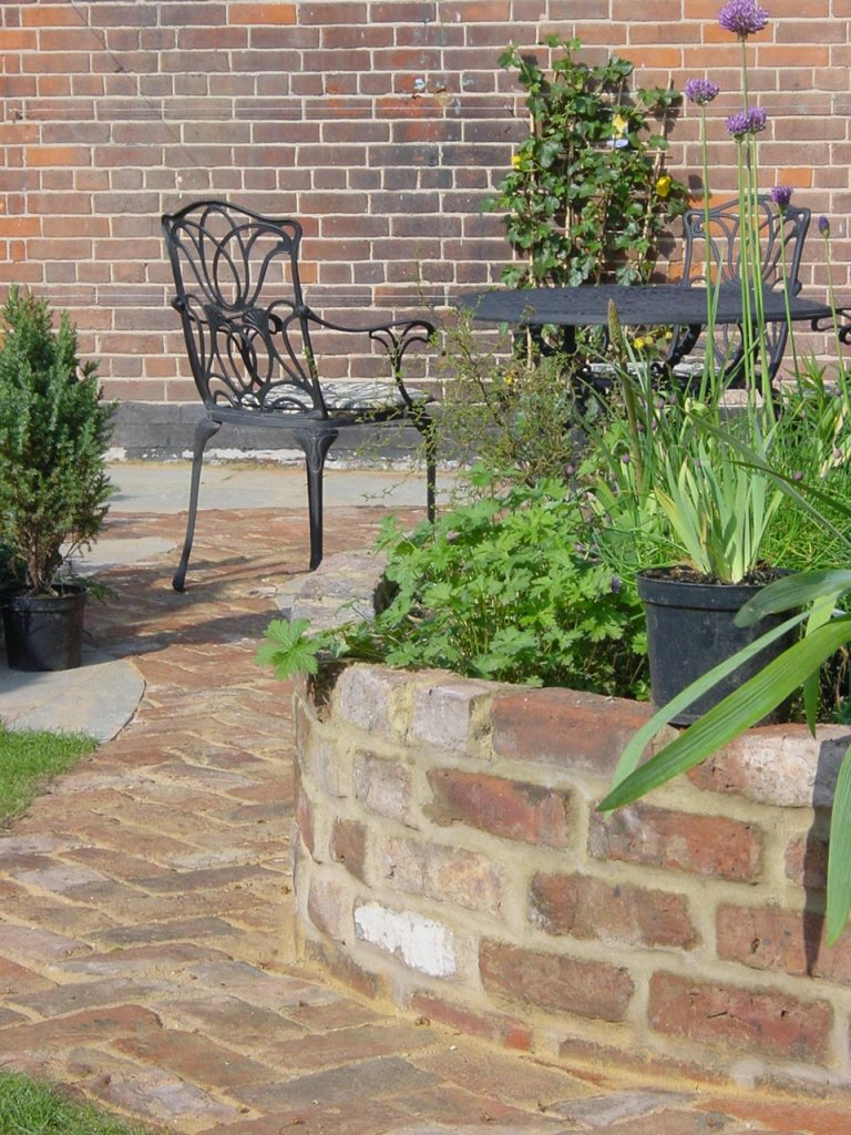 garden landscaping and new brick wall
