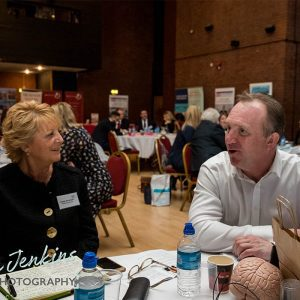 Simon Hazeldine speaking to attendee at Ambition 2017 Conference