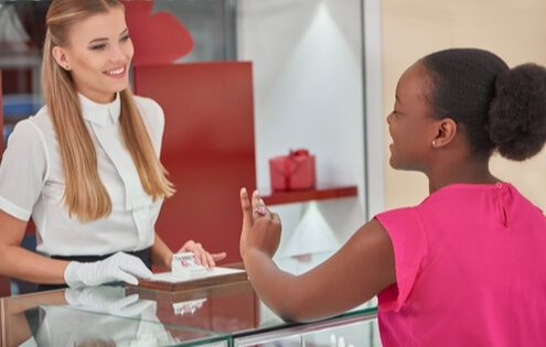 female shopping assistant in London