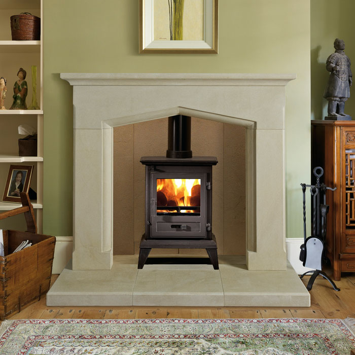 Nera small antiqued fireplace