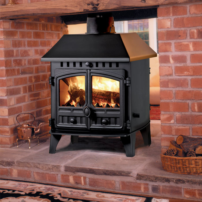 Hunter Herald 6 (Double Sided) Double Depth (With Canopy)Hunter Herald 4 Double Sided wood burning stove