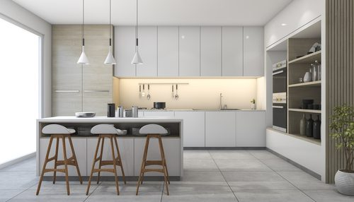 Grey scale tiled kitchen