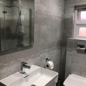 Matt grey bathroom tiles
