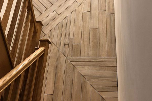 Wood effect feature wall