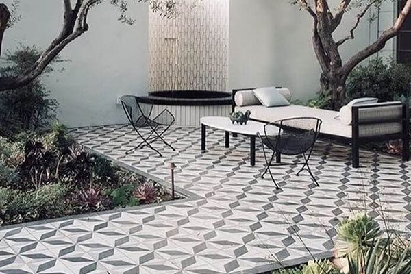 patterned tiles, outdoors