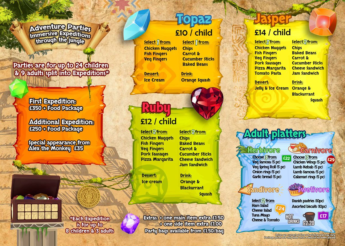 Jungle Monkeyz Adventure Food Packages
