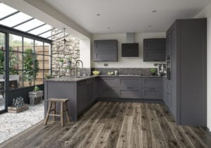 U Shaped Kitchen with open shelving.