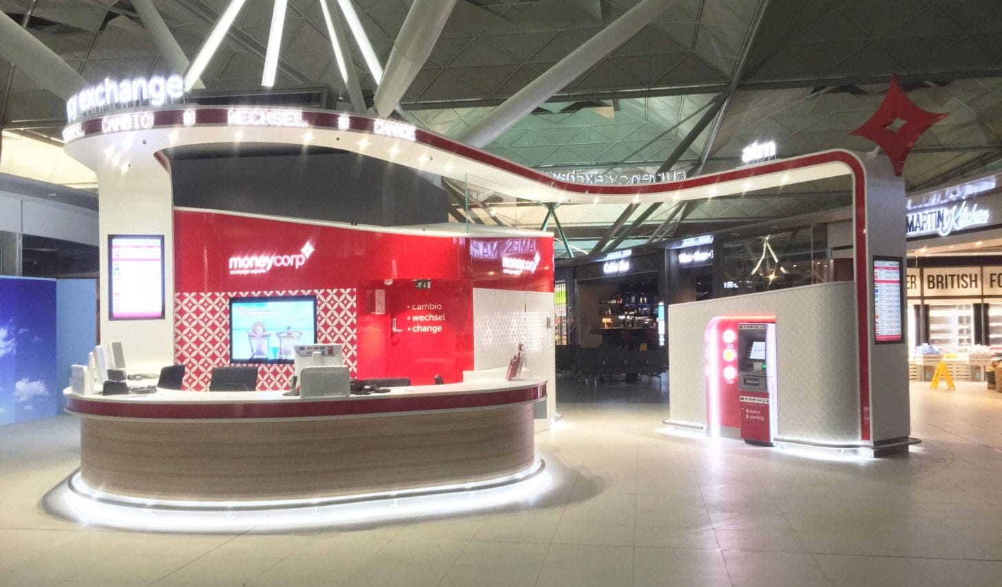moneycorp retail airport popup graphics and display