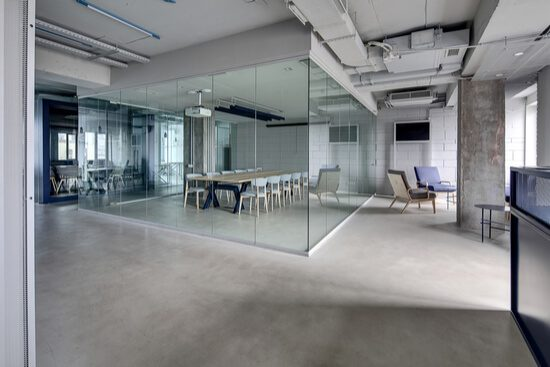 glass partitioned office space