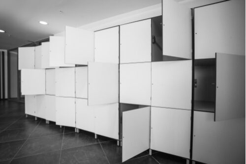 modern storage lockers white