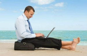 business person on holiday