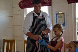Making sausages with our butcher