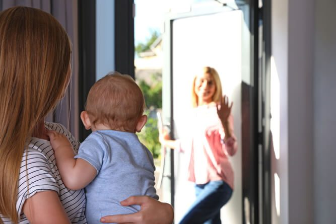 mum leaving her child at home with nanny